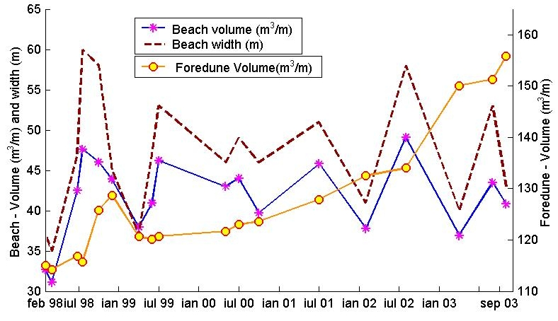The computed beach volume, beach width and foredunes volume on R48 profile. Note the interconection between beach volume and beach width and the independent development of the foredune.